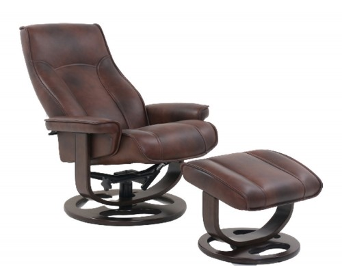 Austin Pedestal Recliner Chair/Ottoman - Hilton Whiskey/Leather Match