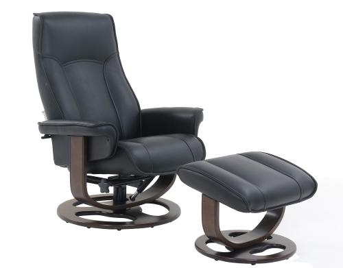 Austin Pedestal Recliner Chair/Ottoman - Hilton Black/Leather Match