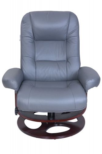 Jacque Pedestal Recliner Chair and Ottoman - Marlene Gray/Leather Match