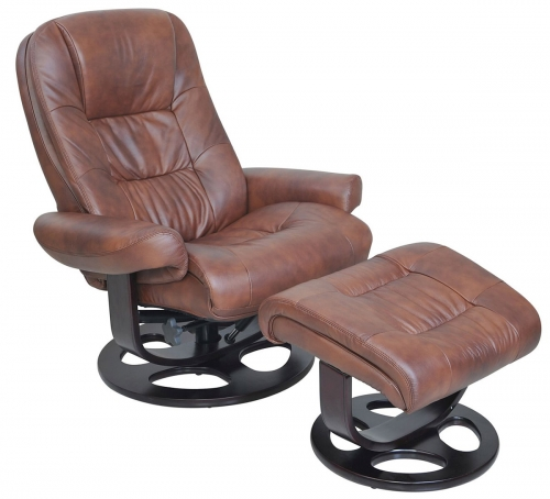 Jacque Pedestal Recliner Chair and Ottoman - Hilton Whiskey/Leather Match