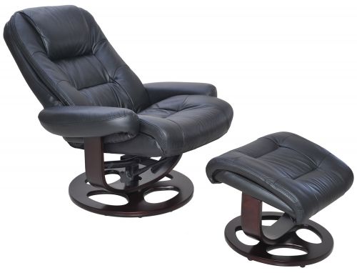 Jacque Pedestal Recliner Chair and Ottoman - Hilton Black/Leather Match
