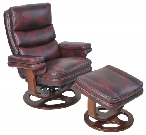Bella Pedestal Recliner Chair and Ottoman - Plymouth Mahogany/Leather Match