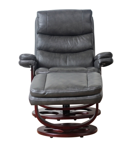 Bella Pedestal Recliner Chair and Ottoman - Chelsea Graphite/Leather Match