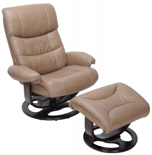 Dawson Pedestal Recliner Chair and Ottoman - Frampton Brown/Leather Match