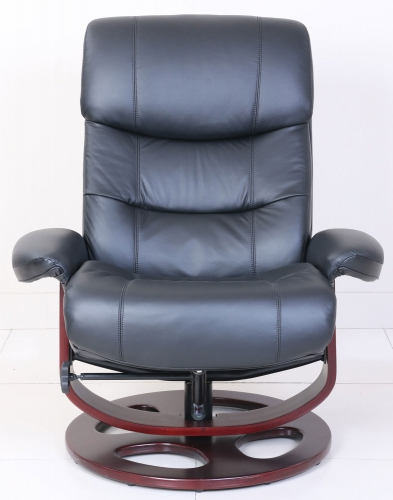 Dawson Pedestal Recliner Chair and Ottoman - Frampton Black/Leather Match