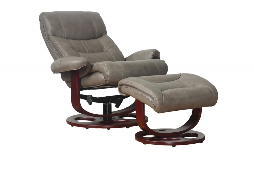 Dawson Pedestal Recliner Chair and Ottoman - Chelsea Cobblestone/Leather Match