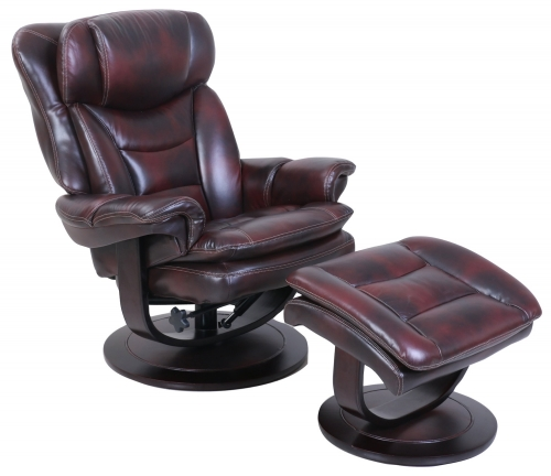 Roscoe Pedestal Recliner Chair and Ottoman - Plymouth Mahogany/Leather Match