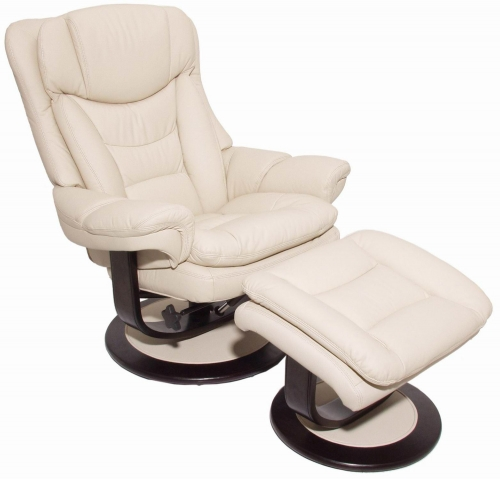 Roscoe Pedestal Recliner Chair and Ottoman - Frampton Ivory/Leather Match