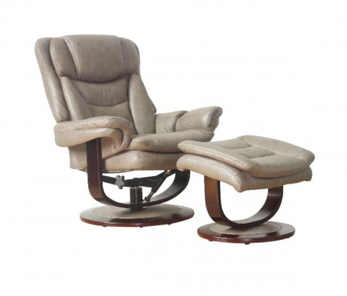 Roscoe Pedestal Recliner Chair and Ottoman - Chelsea Cobblestone/Leather Match
