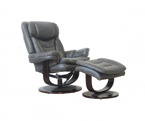 Roscoe Pedestal Recliner Chair and Ottoman - Chelsea Graphite/Leather Match