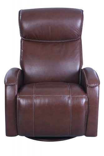 Lavon Swivel Glider Power Recliner Chair with Power Head Rest - Ansley Brown/Leather Match