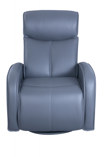 Nico Swivel Glider Power Recliner Chair with Power Head Rest - Marlene Gray/Leather Match