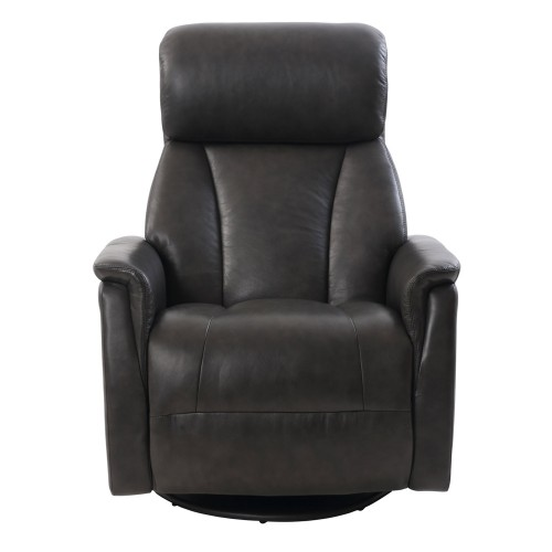 Powell Swivel Glider Recliner Chair with Power Head Rest - Chelsea Graphite/Leather Match