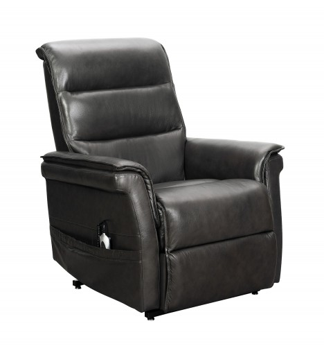 Luka Lift Chair Recliner with Power Head Rest - Venzia Grey/Leather Match