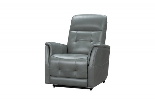 Livingston Lift Chair Recliner Chair with Power Head Rest, Power Lumbar and Lay Flat Mechanism - Antonio Green Gray/Leather Match