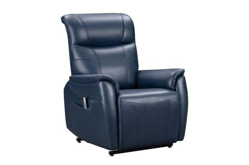 Leighton Lift Chair Recliner Chair with Power Head Rest, Power Lumbar and Lay Flat Mechanism - Marco Navy Blue/Leather Match