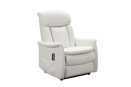Lauren Lift Chair Recliner Chair with Power Head Rest, Power Lumbar and Lay Flat Mechanism - Enzo Winter White/Leather Match