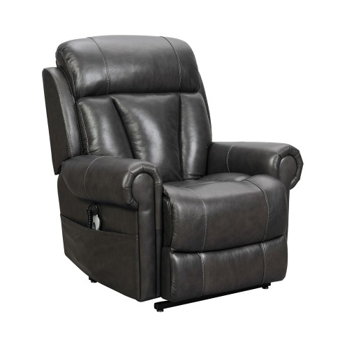 Lyndon Lift Chair Recliner with Power Head Rest and Lumbar - Venzia Grey/Leather Match