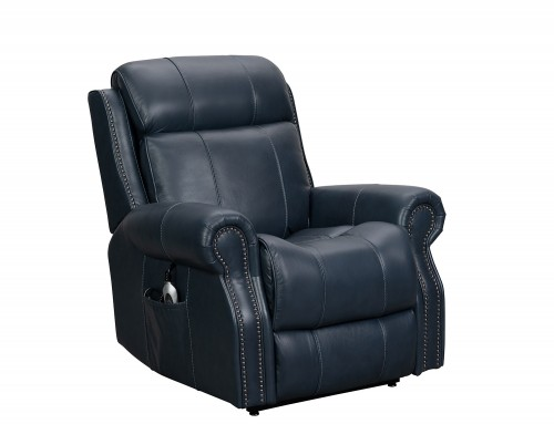 Langston Lift Chair Recliner with Power Head Rest and Lumbar - Venzia Blue/Leather Match