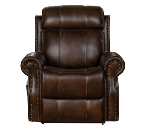 Langston Lift Chair Recliner with Power Head Rest and Lumbar - Tonya Brown/Leather Match