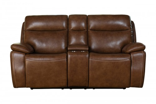 Micah Power Reclining Loveseat with Power Head Rests - Misha Chestnut/Leather Match