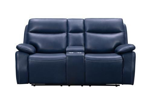 Micah Console Loveseat with Power Recline and Power Head Rests - Marco Navy Blue/Leather Match