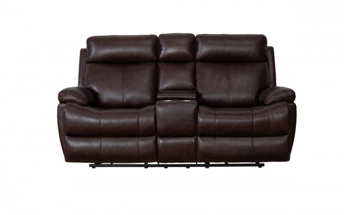 Bryce Power Reclining Loveseat with Power Head Rests and Lumbar - Ryegate Fudge/Leather Match