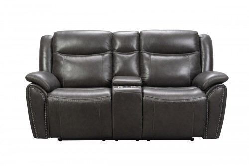 Holbrook Power Reclining Loveseat with Power Head Rests and Lumbar - Venzia Grey/Leather Match