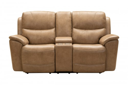 Kaden Power Reclining Console Loveseat with Power Head Rests and Lumbar - Elliott Taupe/Leather Match