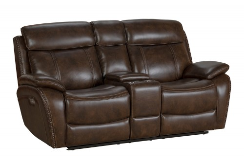 Sandover Power Reclining Console Loveseat with Power Head Rests and Lumbar - Tri-Tone Chocolate/Leather match