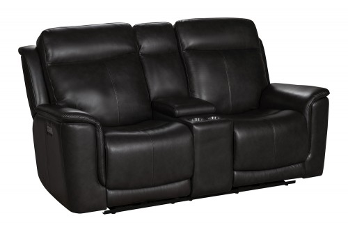 Burbank Power Reclining Console Loveseat with Power Head Rests and Lumbar - Matteo Smokey Gray/Leather match