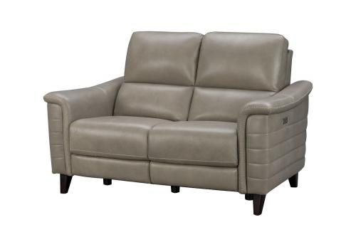 Malone Power Reclining Loveseat with Power Head Rests - Sergi Gray Beige/Leather Match