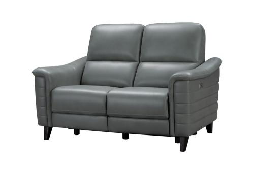 Malone Power Reclining Loveseat with Power Head Rests - Antonio Green Gray/Leather Match