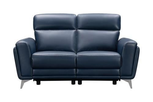 Cameron Power Reclining Loveseat with Power Head Rests - Marco Navy Blue/Leather Match