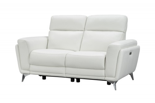 Cameron Power Reclining Loveseat with Power Head Rests - Enzo Winter White/Leather Match