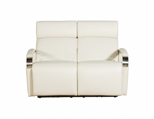Cosmo Power Reclining Loveseat with Power Head Rests - Cashmere White/Leather Match