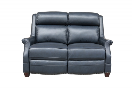 Warrendale Power Reclining Loveseat with Power Head Rests - Shoreham Blue/All Leather
