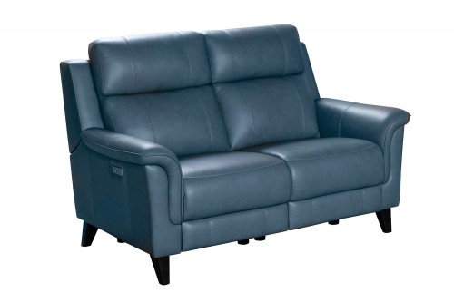 Kester Power Reclining Loveseat with Power Head Rests - Masen Bluegray/Leather match