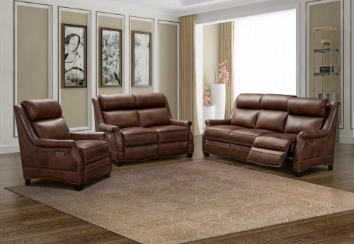 Warrendale Power Reclining Sofa Set with Power Head Rests - Worthington Cognac/All Leather