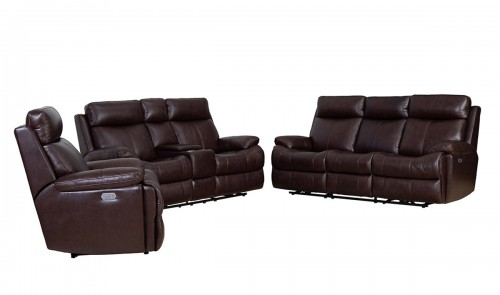 Bryce Power Reclining Sofa Set with Power Head Rests and Lumbar - Ryegate Fudge/Leather Match