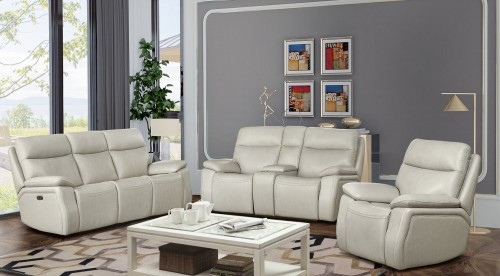 Micah Power Reclining Sofa Set with Power Head Rests - Venzia Cream/Leather Match