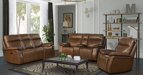 Micah Power Reclining Sofa Set with Power Head Rests - Misha Chestnut/Leather Match