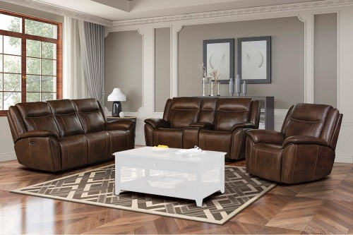 Holbrook Power Reclining Sofa Set with Power Head Rests and Lumbar - Venzia Brown/Leather Match