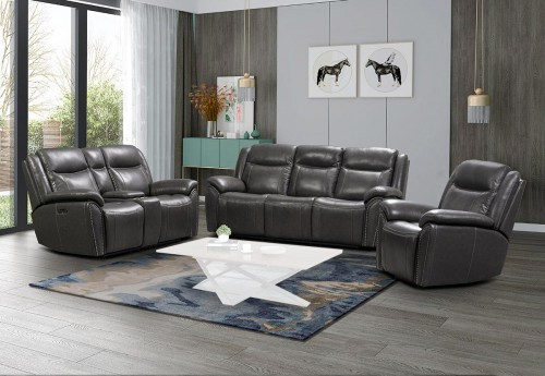 Holbrook Power Reclining Sofa Set with Power Head Rests and Lumbar - Venzia Grey/Leather Match