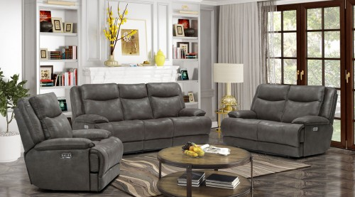 Lawson Power Reclining Sofa Set with Power Head Rests - Garrett Gray/fabric