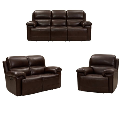 Sedrick Power Reclining Sofa Set with Power Head Rests - El Paso Walnut/Leather Match