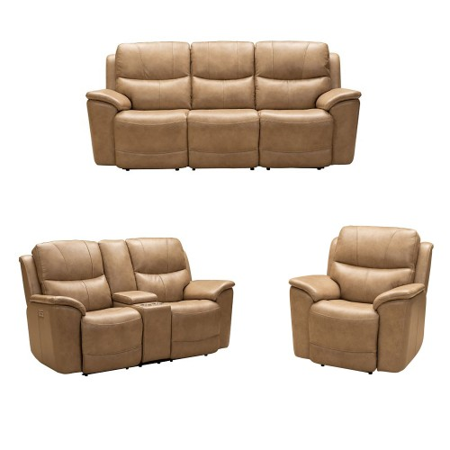 Kaden Power Reclining Sofa Set with Power Head Rests and Lumbar - Elliott Taupe/Leather Match