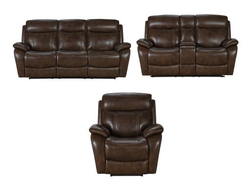Sandover Power Reclining Sofa Set with Power Head Rests and Lumbar - Tri-Tone Chocolate/Leather match