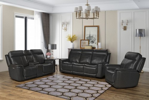 Burbank Power Reclining Sofa Set with Power Head Rests and Lumbar - Matteo Smokey Gray/Leather match