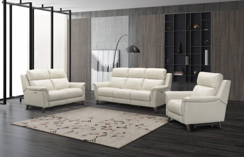 Kester Power Reclining Sofa Set with Power Head Rests - Laurel Cream/Leather match